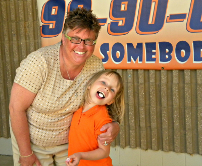 Sherri Dry and Makayla clown around during a recent celebration at Southwest Elementary School.