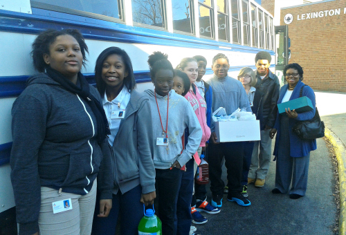 Lexington Middle School students prepare for a trip to the Lexington Senior Center to host a Valentine's Day party for the residents.